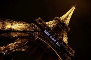 "Lights on the Eiffel Tower read, ""Paris Climat 2015"" to mark the selection of the French capital to host the United Nations Climate Change Conference in 2015"